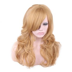 Graceful Long Layered Curly Blonde Synthetic Wigs Women
