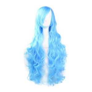 Aqua Blue Long Curl Cosplay Wig