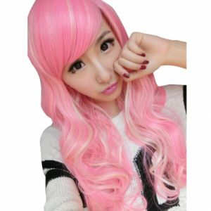 Pink Mixed Beige Curls Cosplay Wig