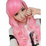 Pink Mixed Beige Curls Cosplay Wig -