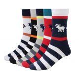 Breathable North Pole Reindeer Socks Men Soft Pattern