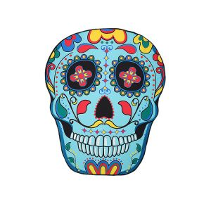 Premium Quality Coloful Flower Skull Beach Blanket Throw