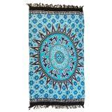 Bluish Medallion Pattern Tapestry Cotton Yoga Mat