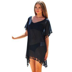 Black Pom Pom Tassel Hem Gauze Cover up - Пляжная одежда