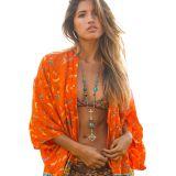 Orange Boho Fashion Chiffon Print Kimono