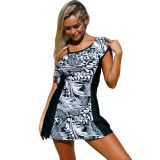 Monochrome Jungle 1pc Swim Dress with Shorts