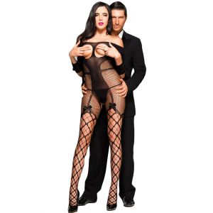 Sexy Open Cup Fishnet Off-shoulder Bodystocking with Bow