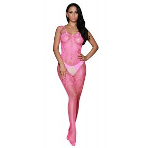 Pink body fishnet jumpsuit