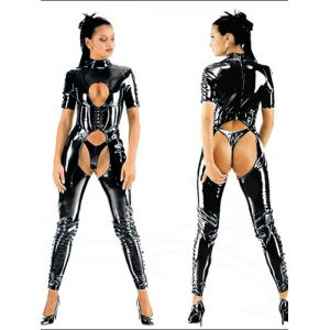 Sexy Open Crotch Vinyl Jumpsuit