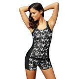 Black Round Neck Flower Print Tankini Bathing Suit