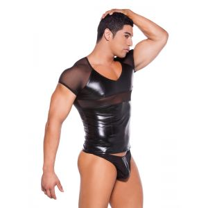 Sexy black vinyl lingerie for men