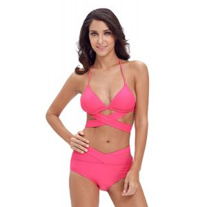 Pink tankini swimsuit with cover with ties