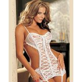 Enticing Stripe White Lace Bustier