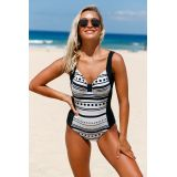 Knot Center Dots and Stripes Front Black Back Monokini