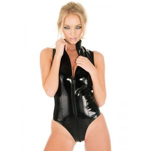 Women Black Sleeveless Leather Bodysuit