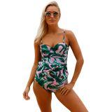 2pcs Green Leaf Print Pink Flounce Tankini Swimsuit