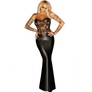 Leather Women Long Strapless Dress