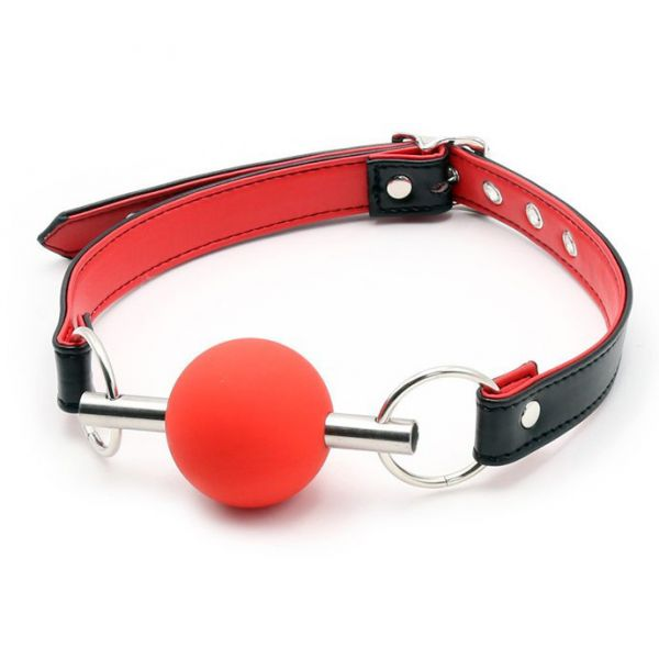 BDSM (БДСМ) - Metal Rod Silicone Ball Gags Red