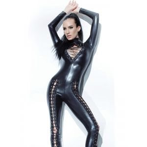 Black Vinyl Leather Jumpsuit With Bandage