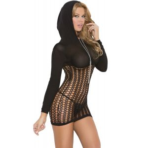 Black hooded Crochet Mini Dress