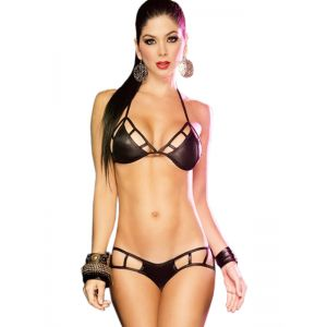 Sexy Black Wetlook Lingerie Set