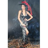 Deep Plunging Halter Top Witch Gown