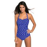 Vintage Inspired 1950s Style Blue Polka Dot Teddy Swimsuit