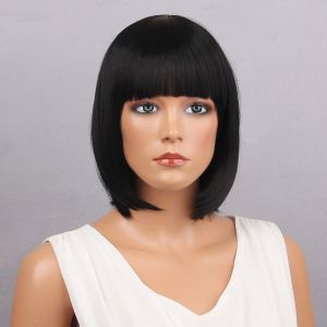 SALE! Wig black Bob bangs