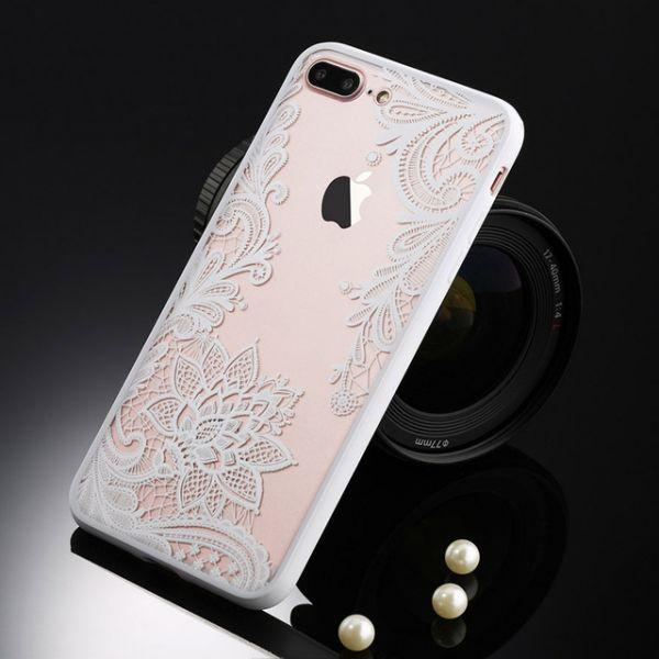 РАСПРОДАЖА! Чехол для iphone 8 plus/iphone 7 plus кружево, белый