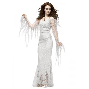 Ghostly Bride Costume White Long Dress