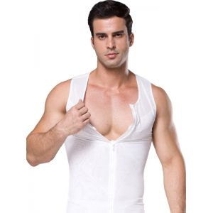 White Front Zipper Shapwear For Mens