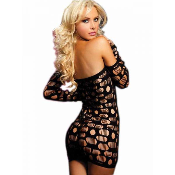 Black hollow out sexy babydolls for women