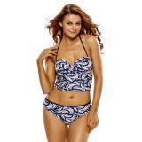 2pcs Lace Up Detail Printed halter Tankini Swimsuit