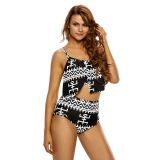 Asymmetric Overlay Flutter Top 2pcs High Waist Swimsuit