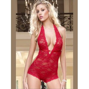 Low Neckline Red Lace Teddy