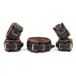 Leather 5 Pieces Restraints Set Hand Neck Foot Handcuffs Brown + Black