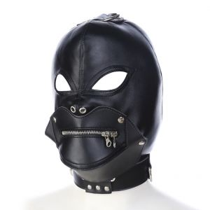 Removable zipper mask Exposed eyes Leather hood