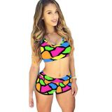 Bright Color Blocks Print Sporty Bathing Suit