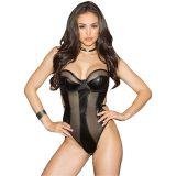 Black Sexy Leather Teddies Lingerie