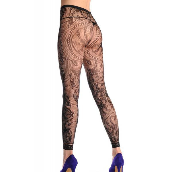 Flower Pattern High Waist Footless Lace Trim Pantyhose