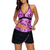 Purple White Spots V-neck Tankini Wrapped Skirt Swimsuit