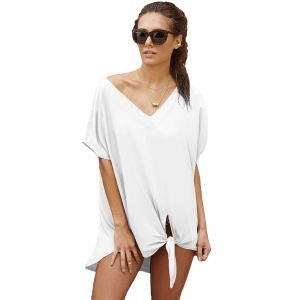White Breezy Tie The Knot Beach Cover Up - Пляжная одежда