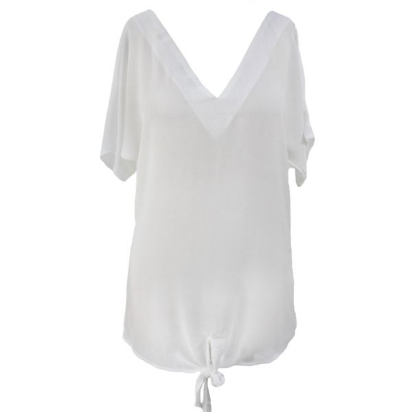 White Breezy Tie The Knot Beach Cover Up