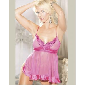 Net Mesh and Charmeuse Babydoll