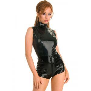 Sexy Gothic Black Wet Look Metallic Catsuit