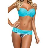 Striped Blue Padded Gather Push-up Bikini Set