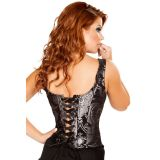 Silver Steampunk Ruffled Brocade Corset Top