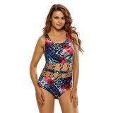 Crisscross Detail Cutout Floral One Piece Swimsuit
