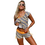 Ruffle One Shoulder Tankini&Shorts 2pcs Swimsuit