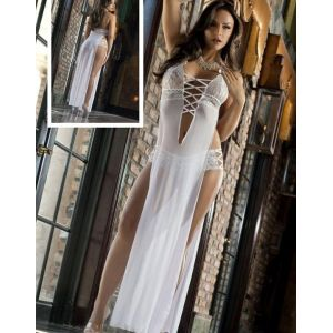 Halter Lace -up White Gown